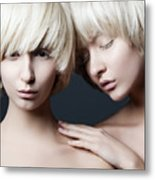 Portrait Of Two Young Beautiful Girls Metal Print
