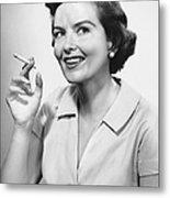 Portrait Of Woman Holding Cigarettte Metal Print
