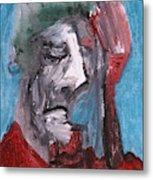 Portrait On Blue Metal Print