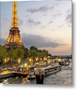 Portrait View Of The Eiffel Tower At Night With Wine Glass In The Foreground Metal Print