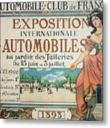 Poster Advertising The Exposition Internationale Automobiles At The Tuileries Gardens 1898 Metal Print