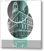 Poster Art Boston Faneuil Hall - Turquoise Metal Print