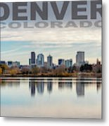 Poster Of Downtown Denver At Dusk Reflected On Water Metal Print