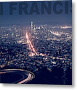 Poster Of Downtown San Francisco With Harbor On The Right Metal Print