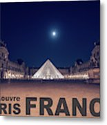 Poster Of  The Louvre Museum At Night With Moon Above The Pyrami Metal Print