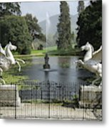 Powerscourt House Terrace And Fountain Metal Print