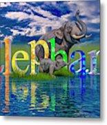 Precious E Is For Elephant Metal Print
