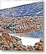 Prescott Arizona Watson Lake Rocks, Hills Water Sky Clouds 3122019 4867 Metal Print