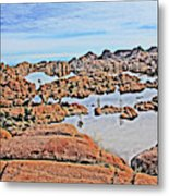 Prescott Arizona Watson Lake Rocks, Hills Water Sky Clouds 3122019 4870 Metal Print