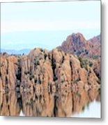 Prescott Arizona Watson Lake Water Mountains Lake Rocks Sky Reflections 4835 Metal Print