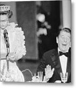 President Reagan Laughing At Queens Metal Print