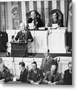 President Truman Addressing Congress Metal Print