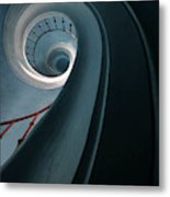 Pretty Blue Spiral Staircase Metal Print