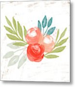 Pretty Coral Roses - Art By Linda Woods Metal Print