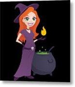 Pretty Witch With Cauldron Metal Print
