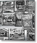 Provincetown Cape Cod Massachusetts Collage Pa Bw Metal Print