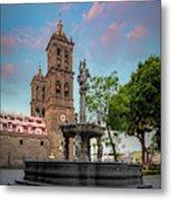 Puebla Zocalo And Cathedral Metal Print