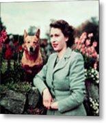 Queen Elizabeth In Garden With Dog Metal Print