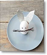 Rabbit Decoration On Plate Metal Print