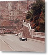 Racing Cars On The Road Track At The Metal Print