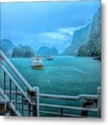 Rain Aboard Au Co Cruise Ha Long Bay  Metal Print