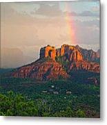 Rainbow Over Arizona Scenery Metal Print