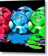 Rainbow Painted Cats Metal Print
