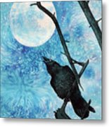 Raven with Torrey Pine Branch and Cold Moon Metal Print