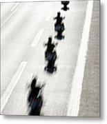 Rear View Of Row Of Motorcycle Riders Metal Print