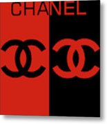 Red And Black Chanel Metal Print