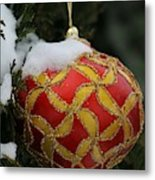 Red And Gold Ornament Metal Print