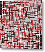 Red Black White Geometric Metal Print