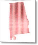 Red Dot Map Of Alabama Metal Print
