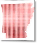 Red Dot Map Of Arkansas Metal Print