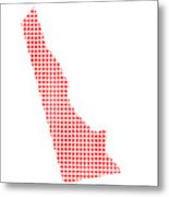 Red Dot Map Of Delaware Metal Print