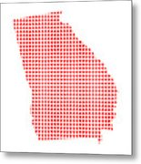 Red Dot Map Of Georgia Metal Print