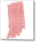 Red Dot Map Of Indiana Metal Print