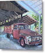 Red Ford And Pink Flowers Metal Print
