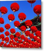 Red Lanterns Are Used As Decoration For Metal Print