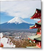 Red Pagoda With Mt Fuji Background And Metal Print