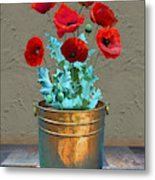 Red Patio Poppies Metal Print