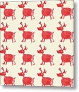 Red Reindeer Pattern Metal Print