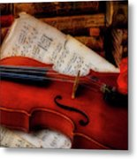 Red Rose And Violin With Sheet Music Metal Print