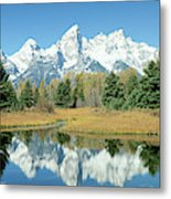 Reflection Of Mountains In Water, Grand Metal Print