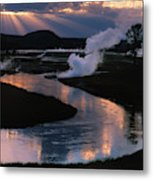 Reflections On The Firehole River Metal Print