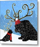 Reindeer Newfs Holiday Card Metal Print