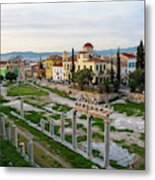 Remains Of The Roman Agora And Cityscape Of  Athens, Greece Metal Print