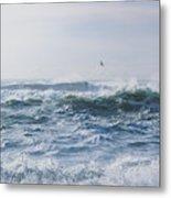 Reynisfjara Seagull Over Crashing Waves Metal Print