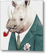 Rhino in Teal Metal Print