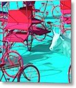 Rickshaws and Cow Metal Print